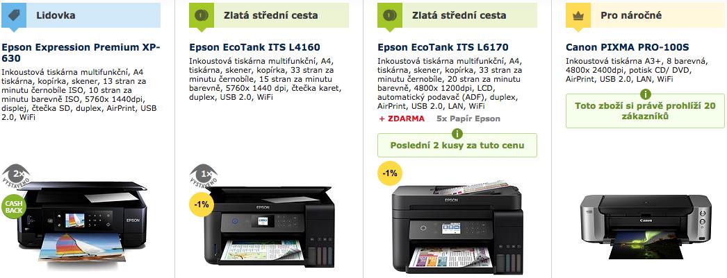 Prodej inkoustových tiskáren