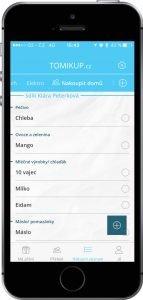 Nákupní seznam v aplikaci Tomikup na Androidu